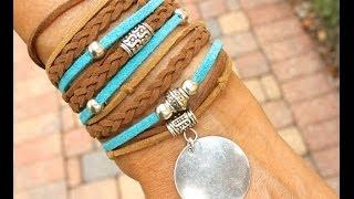 getlinkyoutube.com-How to Make a Boho Triple Wrap Bracelet - Step by Step DIY Tutorial Bohemian Faux Suede Wrap