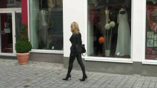 Walking in my ultimate All-in-one-Stretchleather High-Heel-Bootsuit