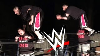 getlinkyoutube.com-WWE MOVES TO FRIENDS! GRIM GOES OFF THE TOP ROPE TWICE!