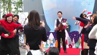 "Flashmob Surprise Proposal フラッシュモブ プロポーズ 日本一高い場所で感動のプロポーズ!あべのハルカス展望台 Olly Murs "" Wrapped Up """