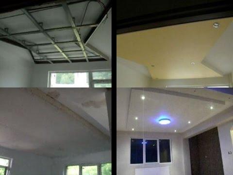 Amenajari interioare living dormitoare imagini rigips tavan forme gips carton spoturi luminoase