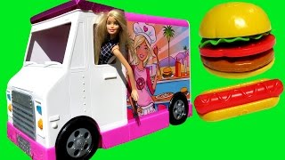 getlinkyoutube.com-FOOD Truck ! ELSA & ANNA toddlers & Barbie - KETCHUP everywhere - Hotdogs Burgers Pizza Sandwich