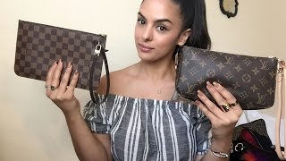 getlinkyoutube.com-Louis Vuitton Pochette Accessory NM Vs  Neverfull Pouch-what fits/uses