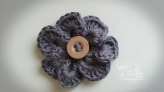 getlinkyoutube.com-Tutorial Flor Crochet o Ganchillo Flower
