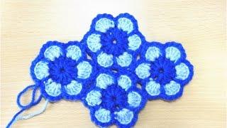 getlinkyoutube.com-花のモチーフのつなぎ方(編みながら繋ぐ方法)How to Crochet Flower Motif