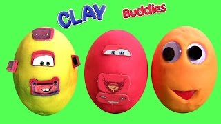 getlinkyoutube.com-Clay Buddies Mater CARS Lightning McQueen with Play Doh Surprise Googly Eyes Huevos Sorpresa