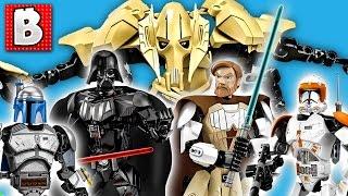 All Six Lego Star Wars Buildable Figures! Grievous Vader Obi-Wan Commander Cody Jango Fett Skywalker