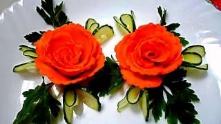 getlinkyoutube.com-HOW TO MAKE CARROT ROSE  FLOWER - CUCUMBER GARNISH & VEGETABLE CARVING - ART IN CARROT