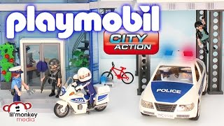 getlinkyoutube.com-Playmobil City Action - Police Station with Alarm, Helicopter, Cruiser, Motorcycle and SWAT Team!