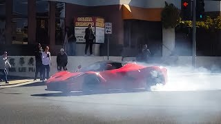 Crazy Laferrari SPINS OUT in Middle of Street...CLOSE CALL