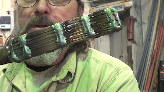 getlinkyoutube.com-Blacksmithing - Forge Welding Band Saw Blades Into A Billet