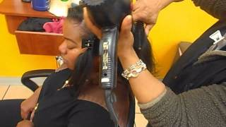 getlinkyoutube.com-BONE STRAIGHT LOOK w/o Flat Iron on Natural Hair