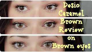 getlinkyoutube.com-Desio Caramel Brown on Dark Eyes // REVIEW