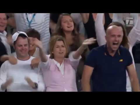 Roger Federer celebration and player box reaction to 2017 Australian Open title -  Different angle