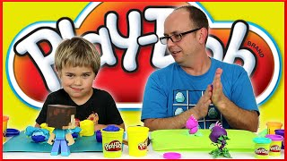 getlinkyoutube.com-Play-Doh Challenge - Minecraft and Plants vs Zombies - Family Fun