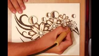 getlinkyoutube.com-How to create a Pyrography project of flowers