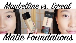 L'oreal Pro Matte vs Maybelline Fit Me Matte & Poreless Foundations Drugstore Makeup