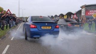 getlinkyoutube.com-2x BMW M5 E60 V10 w/ Eisenmann Race Exhaust - INSANE BURNOUT!!
