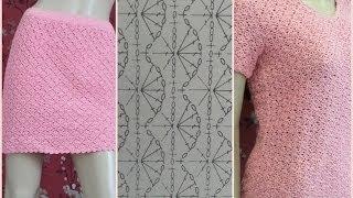 getlinkyoutube.com-Crochet T-shirt And Skirt