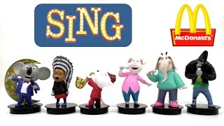 getlinkyoutube.com-2016 SING MOVIE McDONALD'S HAPPY MEAL TOYS THEATER CUPS & CUP TOPPERS FULL SET 6 COLLECTION REVIEW
