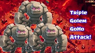 getlinkyoutube.com-Clash Of Clans | Triple Golem GoHo Attack | TH9 3 Stars Strategy
