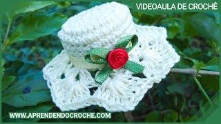 getlinkyoutube.com-Imã / Lembrancinha de Nascimento em Croche - Mini Chapéu - Aprendendo Crochê