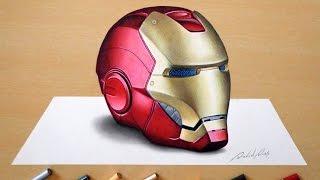 getlinkyoutube.com-3D Drawing: Iron Man's helmet