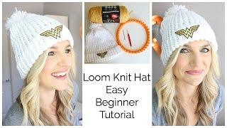 getlinkyoutube.com-Easy Loom Knit Hat Tutorial - Beginner!!