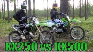 getlinkyoutube.com-Two-Strokes KX250 vs KX500