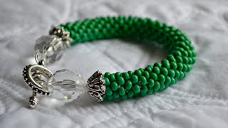 getlinkyoutube.com-Glass Beaded Bracelet : Crocheted Rope Tutorial
