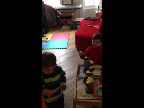 Nat and Ilan eating lunch at home April 18 2014