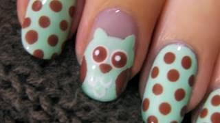 getlinkyoutube.com-Cute Owl Nail Art