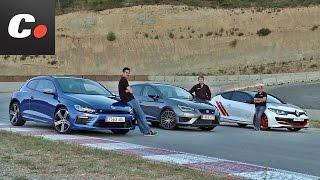 getlinkyoutube.com-Renault Mégane Trophy-R, Seat León Cupra, VW Scirocco R | Prueba compactos deportivos | coches.net