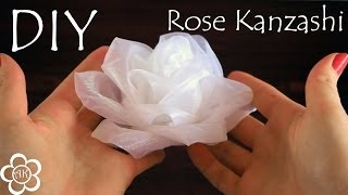 getlinkyoutube.com-Белая роза из органзы / Kanzashi Rose Tutorial