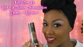 getlinkyoutube.com-Kat Von D Lock It Tattoo Foundation Review & Demo On Dark Skin