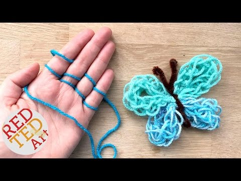Easy Finger Knitting How To - DIY Yarn Butterfly