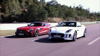 getlinkyoutube.com-Mercedes AMG GT S vs. Jaguar F-Type R AWD - GRIP - Folge 335 - RTL 2