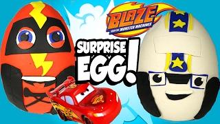 getlinkyoutube.com-SURRPISE EGGS Blaze & the Monster Machines VS Disney Cars Toy McQueen with Paw Patrol Surprises