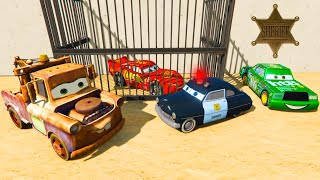 getlinkyoutube.com-Disney Pixar Cars Sheriff Lightning McQueen Mater Chick Hicks Videos for Kids Nursery Rhymes Songs