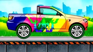 getlinkyoutube.com-Мультик раскраска. Учим цвета и виды машин 2 серия. Машинки - Джип Пикап. Мультики про машинки.