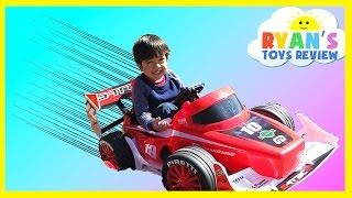 getlinkyoutube.com-Playtime at the Park Batman vs Superman Monster Trucks Power Wheels Ride On Car for kids Spiderman