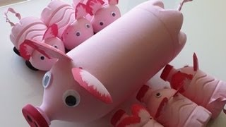 getlinkyoutube.com-DIY Recycled Art and Crafts Ideas for Kids: How to Make Pig's Family from Plastic Bottles