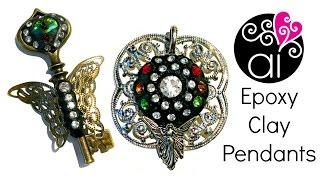 getlinkyoutube.com-Epoxy Clay Tutorial | Filigree Pendants with Crystals