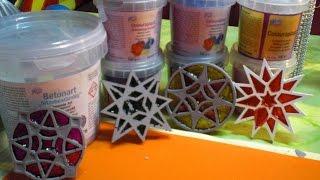 getlinkyoutube.com-DIY - Beton giessen - bunte zarte Sterne aus Beton