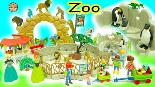 Disney Frozen Queen Elsa + Princess Anna Go To Playmobil Animal Zoo - Toy Video