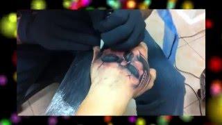 getlinkyoutube.com-Tattoo realistico di un teschio sulla mano - Realistic tattoo of a skull on hand (no stencil)
