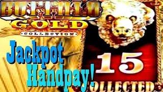 getlinkyoutube.com-**JACKPOT HANDPAY**  BUFFALO GOLD!!  All 15 Golden Buffalo Collected!