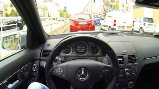 getlinkyoutube.com-Mercedes C63 AMG Onboard POV Drive in the City #3 Acceleration V8 Sound W204 Driver Perspective