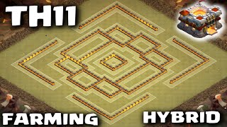 getlinkyoutube.com-Best TH11 Farming/Hybrid Base Balanced Resource Protection! Clash of Clans