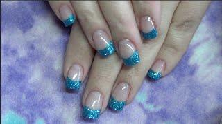 getlinkyoutube.com-Gel Nails with Blue Tips : Full Tutorial